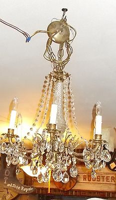 Spectacular Antique  Brass 6 Embossed Arm Chandelier 9