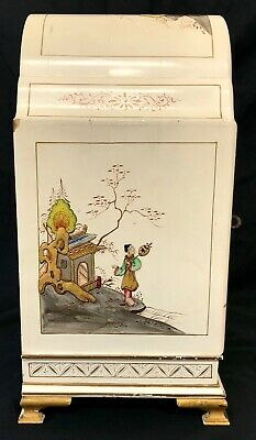 Stunning Antique Musical Cream Chinoiserie Three Train Clock Lacquered Oriental 5