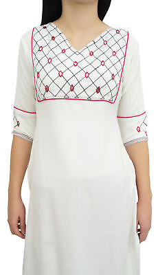 Bimba Women's Designer White Rayon Mirror Embroidery Casual Sassay Tunic