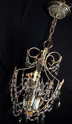 Vtg Deco Victorian Spain Boudoir Petite Brass Chandelier Fixture Smoked Crystals 9