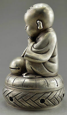 Collectible Decorated Handwork Old Tibet Silver Carve Monk Prayer Incense Burner 4