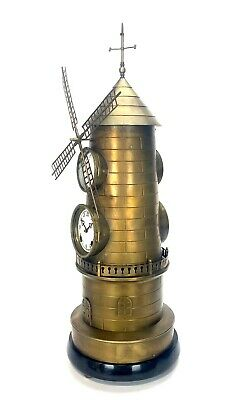 """32"""" Tall Large French Style 8 Day Brass Automaton Windmill Industrial Clock 3"""