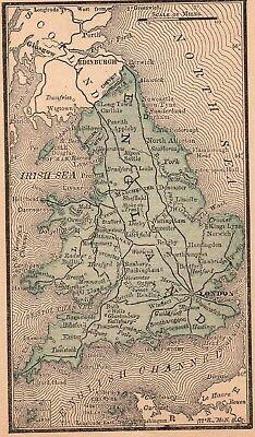Framed Original 1887 Antique Map ENGLAND London Cambridge Oxford Liverpool York 2