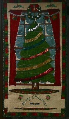 Christmas Wall Hanging Quilts with hand sewn embellishments.