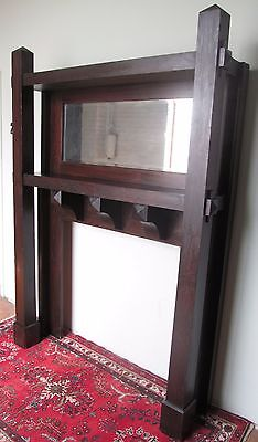 Antique Rare Mission Oak Arts & Crafts Mantle In Fumed Original Finish 3