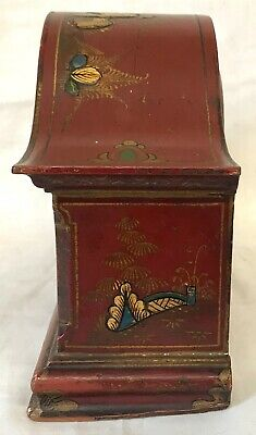 Stunning Chinoiserie Red Lacquered Mantel Bracket Clock Japanned Paint 3