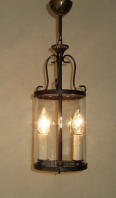 Antique Vintage French Round Glass  Lantern Chandelier  Light Two Branch 4