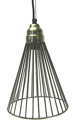 Hanging Pendant Light Chandelier Pewter Finish Wire Cage Design Metal 6