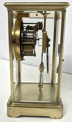 Antique Four Glass Brass Striking Bracket Mantel Clock Brass Japy Freres 5