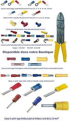 Cosse électrique isolée à sertir ronde fourche clips dérivateur de 10 , 25 ou 50 3