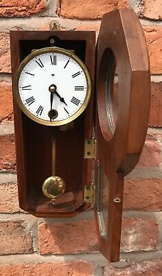 Beautiful Vintage Miniature Drop Dial Wall Clock In Wooden Case With Pendulum 7