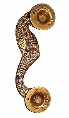 A Pair of beautiful Ethnic Brass made Curved Peacock Door Handles from INDIA 5
