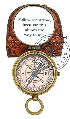 5 Pieces Engraved Brass Compass Maritime Antique Pocket Gift With Leather Case 8