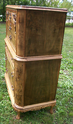 Marquetry Antique Furniture Highboy Chest Drawers Dresser French Provincial 7