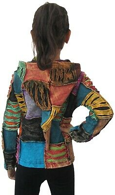 Patchwork Baby Girls Youth Hippie Funky Jacket Hoodie Boho Festival Sweater 2