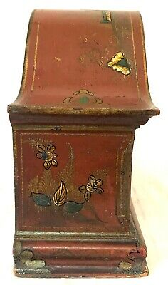 Stunning Chinoiserie Red Lacquered Mantel Bracket Clock Japanned Paint 5
