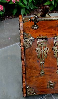 Antique French Burled & Inlaid Walnut Fireplace Hearth Coal Hod Scuttle Shovel 4