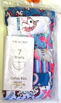 Girls Knickers Primark 7 Pairs Unicorn Teen Girls Briefs Age 18M to 5 Years 4