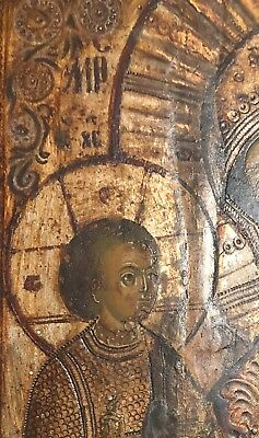 19th c Antique RUSSIAN ICON Mother of God Religious Orthodox Oil Painting Wood 3
