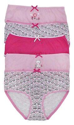 Girls 5 Pack Pairs Briefs Set Knickers Kids Multipack 100% Cotton Underwear Size 8