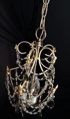 Vtg Deco Victorian Spain Boudoir Petite Brass Chandelier Fixture Smoked Crystals 4