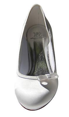HBH Satin Brautschuhe, innen ausgepolstert,mit Schleife, 5cm Absatz, Farbe:Ivory
