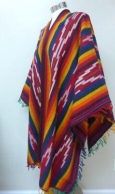 Andean Mountain Woven Textile Peruvian Shaman Black Poncho Cape