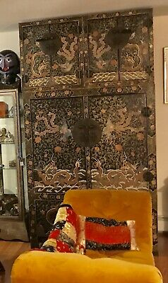 antique Chinese Black Lacquer Cabinet Dragons Double Top Wedding Chinoiserie 12