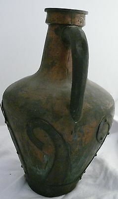 1800's Antique Russian Hammered Brass And Copper Stamped Signed Carafe Pitcher 4