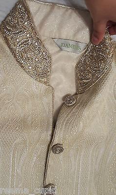 Daminis Mens Groom Wedding Wear Cream Sherwani Small Used 40 indian pakistani 2