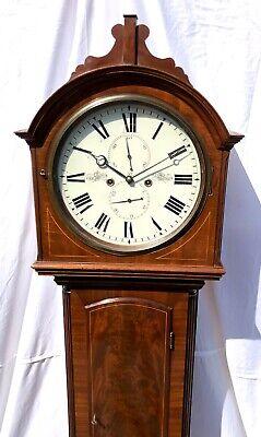 ~ Antique Inlaid Mahogany Longcase Grandfather Library Clock : DARLING EDINBURGH 4