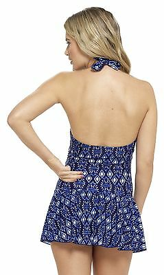Tom Franks Spot Print Swimdress with Tummy Control Black