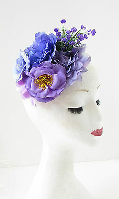 Purple Lilac Rose Peony Flower Fascinator Hair Clip Rockabilly Races Vintage 103 2