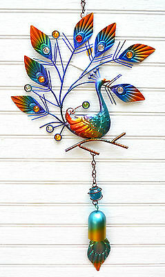 Peacock Metal Hanging Decor with Bell porch or patio ornament(R) 4