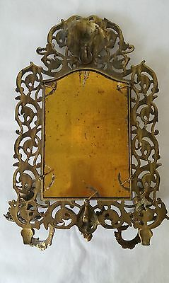 Antique France Style Gold Gilt wall Mirror with 2 Candle Sconces 9
