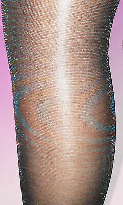 Rainbow Glitter Girls Black Tights. Age 6 7 8 9 10 sparkly party 5