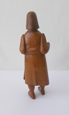 """Wood Carved Ethnic Man with Staff~~7 1/2"""" Tall~~Beaded Eyes~~Stands On His Own 3"""