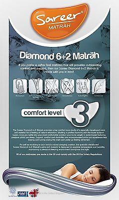 Lavish New Sareer Diamond 6+2 Memory Foam Mattress 2Ft6,3Ft,4Ft,4Ft6,5Ft,6Ft 4