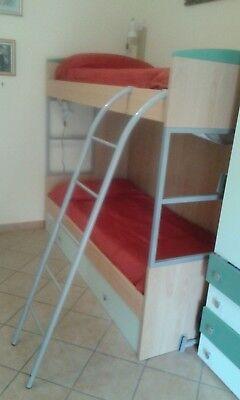Letto a castello con cassettone, reti, materassi e scrivania con libreria 3