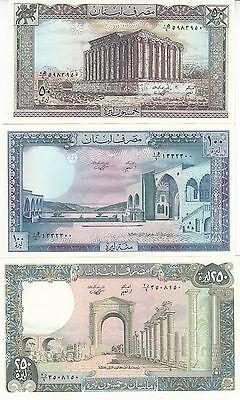 LEBANON 7 PCS SET UNC 1 5 10 25 50 100 250 LIVRES 1980-88 P 61 62 63 64 65 66 67