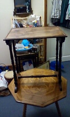 SMALL VICTORIAN SIDE TABLE with turned legs & cross timber 2