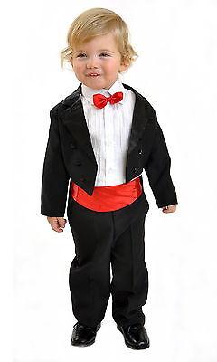 """5tlg Kinderanzug Taufanzug Baby Jungen Frack Smoking /""""Angelo/"""" weiss Grösse 92"""