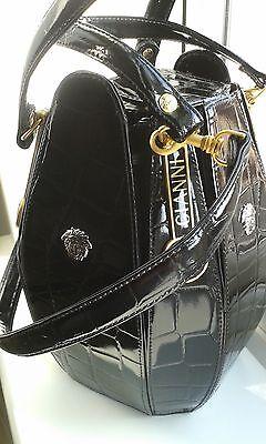 4 of 11 Gianni Versace Black Leather Alligator Embossed Medusa Bucket Bag d7db69330ddd6