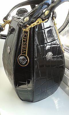 GIANNI VERSACE BLACK Leather Alligator Embossed Medusa Bucket Bag ... 71b252f439b9f