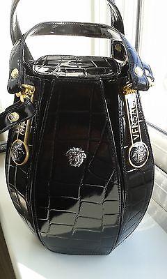 3 of 11 Gianni Versace Black Leather Alligator Embossed Medusa Bucket Bag c9ffef16a87dd