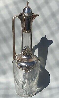 WMF Silver Plate Crystal Pitcher Jug Signed Antique Jugendstil Art Nouveau Deco 12