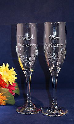 2 Personalized Engraved  Wedding Champagne Toasting Flutes with Custom Design 3