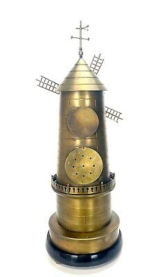 """32"""" Tall Large French Style 8 Day Brass Automaton Windmill Industrial Clock 4"""