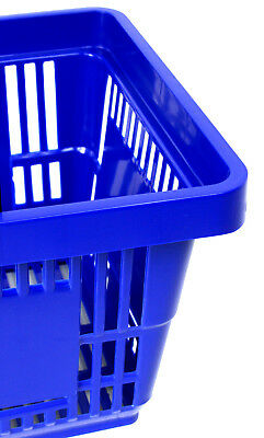 Pack of 20 x 2 Handle Blue Plastic Shopping Basket Retail Supermarket Use 2