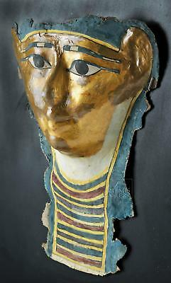Egyptian Ptolemaic Gilded Cartonnage Sarcophagus Mask Lot 2